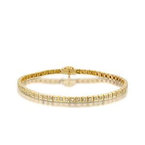 צמיד יהלומים טניס דגם רחל זהב צהוב 1.10 קרט