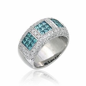 טבעת יהלומים כחולים ולבנים דגם ז'אן