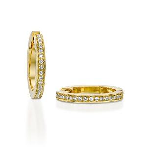 עגילי יהלומים חישוק זהב צהוב דגם ג'קי