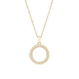 תליון יהלומים מעגל קארמה בזהב צהוב