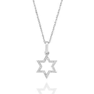 תליון יהלומים מגן דוד פתוח מזהב לבן