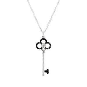 תליון יהלומים שחורים ולבנים דגם מפתח תלתן