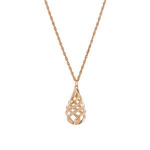 תליון יהלומים טיפה בזהב ורוד דגם כרמל