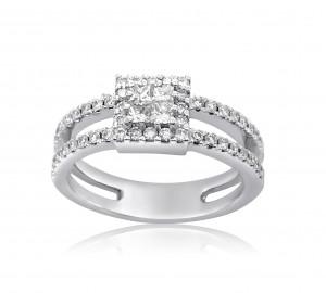 טבעת יהלומי פרינסס ויהלומים לאירוסין דגם יסמין
