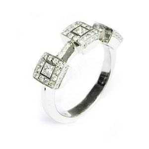 טבעת יהלומי פרינסס ויהלומים דגם שירה
