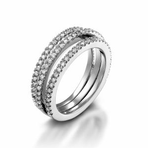 טבעת יהלומים 3 שורות דגם לוסיל