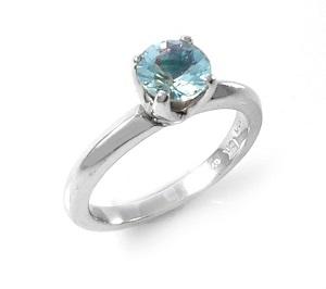 טבעת אקווה מרין סוליטר דגם ויקטוריה