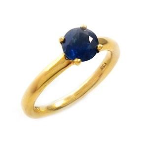 טבעת ספיר כחול סוליטר דגם תמר