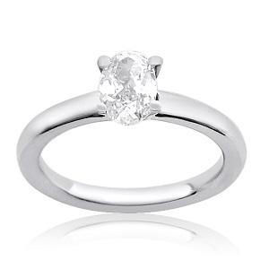 טבעת יהלום אובל סוליטר לאירוסין דגם תמר