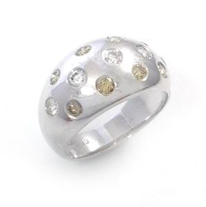 טבעת יהלומים צהובים ולבנים דגם ליל כוכבים