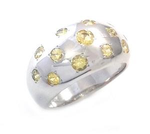 טבעת ספירים צהובים דגם ליל כוכבים
