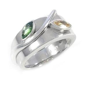 טבעת ספיר צהוב וכרום טורמלין דגם בראל