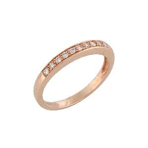 טבעת יהלומים שורה דגם פולי זהב ורוד 0.15 קרט