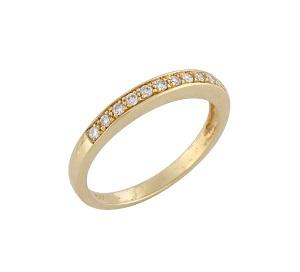טבעת יהלומים שורה דגם פולי זהב צהוב 0.15 קרט