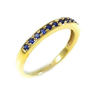 טבעת ספירים כחולים שורה דגם פולי