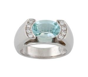 טבעת אקווה מרין ויהלומים דגם אלברטה