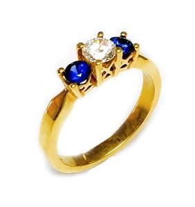 טבעת יהלום וספירים כחולים דגם פלנופה