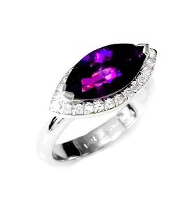 טבעת אמטיסט ויהלומים דגם מוניקה