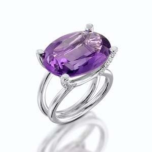 טבעת אמטיסט ויהלומים דגם מזל שור