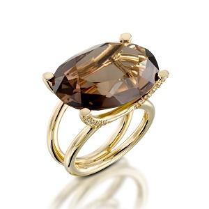 טבעת סמוקי טופז ויהלומים דגם מזל שור