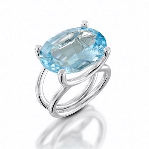 טבעת בלו טופז סוליטר דגם מזל שור