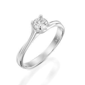 טבעת יהלום סוליטר לאירוסין זהב לבן דגם אדריאנה