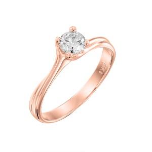 טבעת יהלום סוליטר לאירוסין זהב ורוד דגם אדריאנה