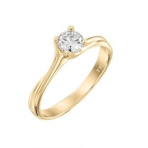 טבעת יהלום סוליטר לאירוסין זהב צהוב דגם אדריאנה