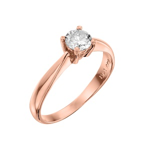 טבעת יהלום סוליטר לאירוסין זהב ורוד דגם רויאל