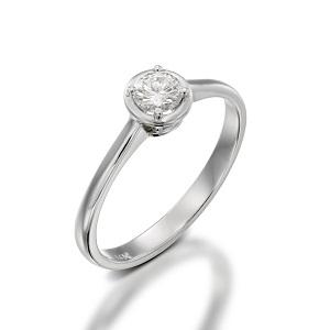 טבעת יהלום סוליטר לאירוסין זהב לבן דגם אריאדנה