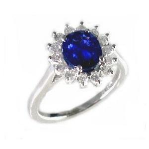 טבעת ספיר כחול ויהלומים דגם דיאנה 1.85 קרט