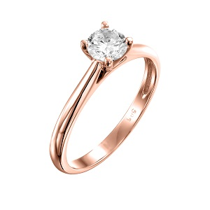 טבעת יהלום סוליטר לאירוסין זהב ורוד דגם קתדרלה
