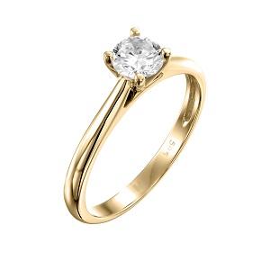 טבעת יהלום סוליטר לאירוסין זהב צהוב דגם קתדרלה