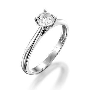 טבעת יהלום סוליטר לאירוסין זהב לבן דגם קתדרלה