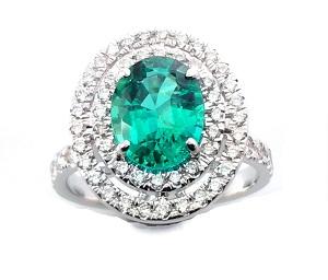 טבעת אמרלד ויהלומים דגם אלמה