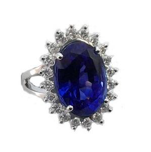 טבעת טנזנייט ויהלומים דגם פרח