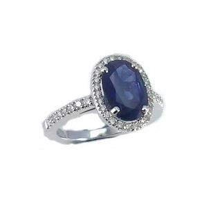 טבעת ספיר כחול ויהלומים דגם ליילה 2.25 קרט