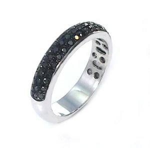 טבעת יהלומים שחורים 3 שורות דגם שרי