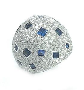 טבעת כיפה ספירים כחולים ויהלומים דגם דונה