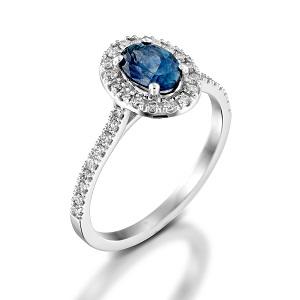 טבעת ספיר כחול ויהלומים דגם מורן
