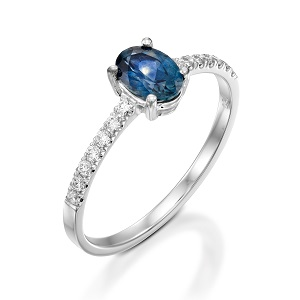 טבעת ספיר כחול ויהלומים דגם עדי