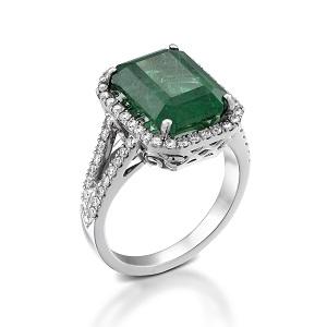 טבעת אמרלד ויהלומים דגם ג'וליה
