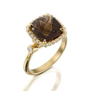 טבעת סמוקי טופז ויהלומים דגם סנדרה