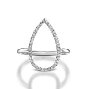 טבעת יהלומים טיפה זהב לבן
