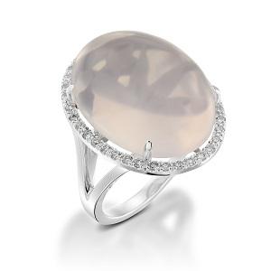 טבעת רוז קוורץ ויהלומים דגם קלייר