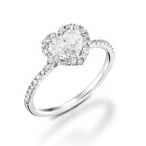 טבעת יהלום לב ויהלומים דגם מילה