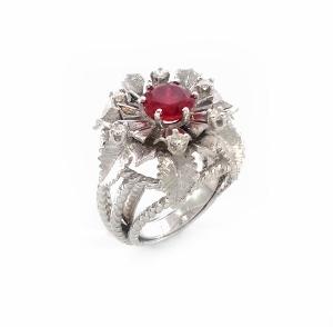 טבעת רובי ויהלומים דגם פרח נטלי