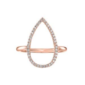טבעת יהלומים טיפה זהב ורוד
