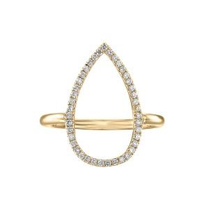 טבעת יהלומים טיפה זהב צהוב