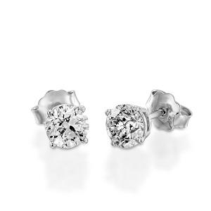 עגילי סטד יהלומים דגם דו - זהב לבן